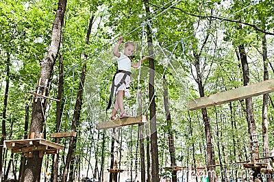 Young girl balancing