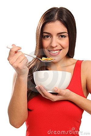 Free Young Girl Beautiful Smile Eating Breakfast Cereal Stock Photos - 17471143