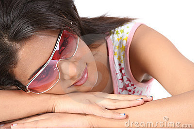 Young girl with big sunglasses.