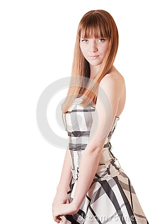 Young girl in black and white dress