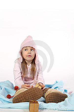 Young girl on a blanket