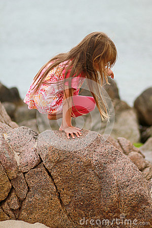 Young Girl on Boulder