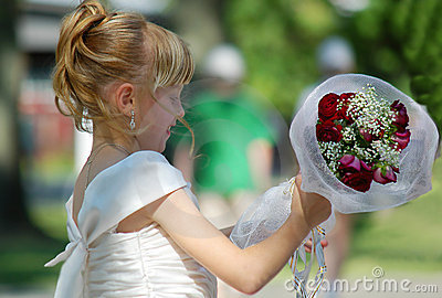 Young girl with bouquet