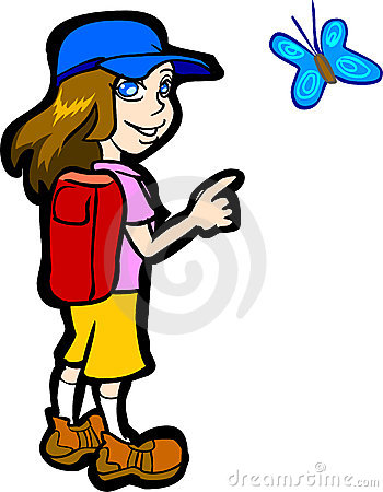 Young Girl And Butterfly
