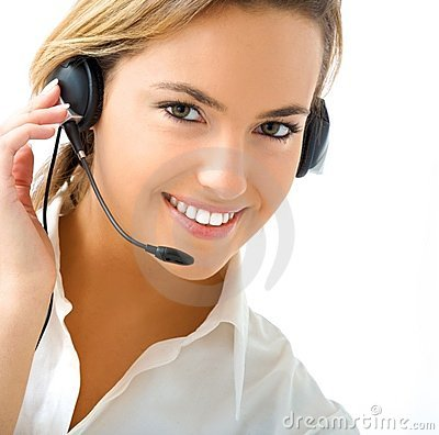 Young girl in call center