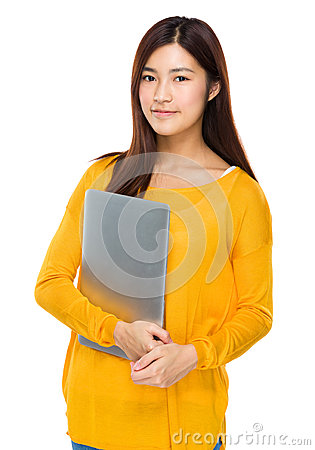 Free Young Girl Carry With Portable Computer Stock Image - 52406181