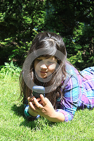 Young girl  with cellphone