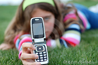 Young girl and cellphone