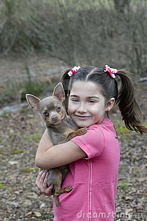 Young girl with Chihuahua