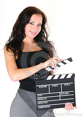 Young girl with clapper board