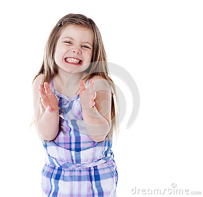 Young girl clapping hands on white