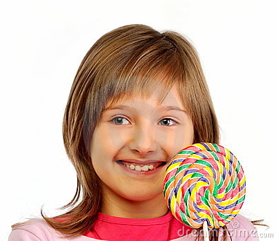 Young girl with colorful lollipop