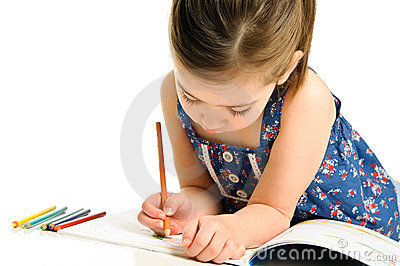 Young Girl Coloring a Picture