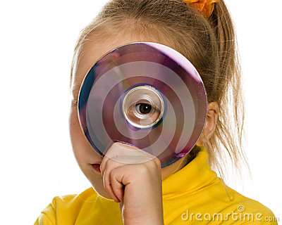Young girl with a compact disc