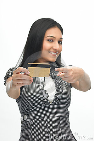 Young girl with credit-card
