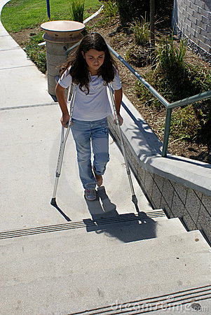 Young Girl with Crutches at Steps
