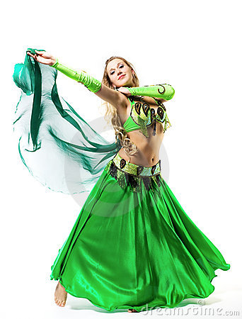 Young girl dance with green veil