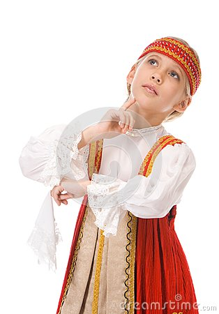 Young girl dancing in national dress