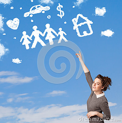 Young girl daydreaming with family and household clouds Stock Photo