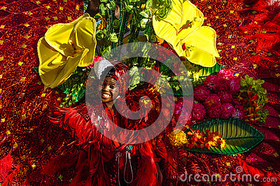 A young girl depicts the rich flora and fauna in Trinidad and Tobago Editorial Stock Photo