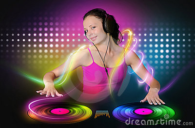 Young girl DJ plays a color vinyl