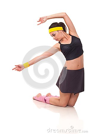 Young girl doing exercises