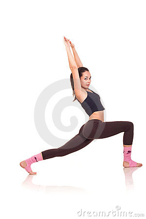 Young girl doing a fitness exercises