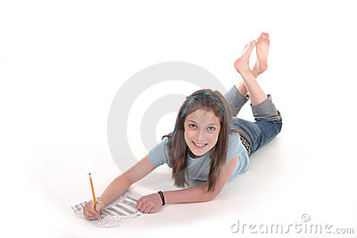 Young Girl Drawing and Writing 3