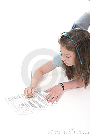 Young Girl Drawing and Writing 4