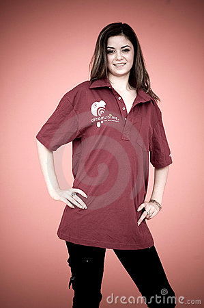 Young girl in Dreamstime shirt