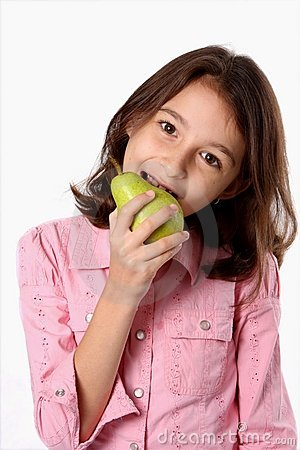 Young Girl Eating Green Pear