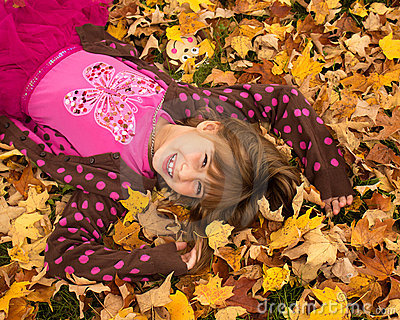 Young Girl Enjoying Autumn