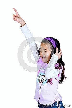 Young girl enjoying her favourite song