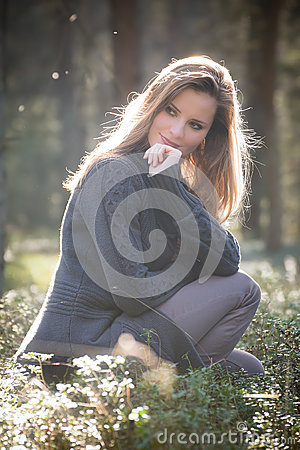 Free Young Girl Enjoying Spring Afternoon Sun In The Woods Royalty Free Stock Photography - 46341347