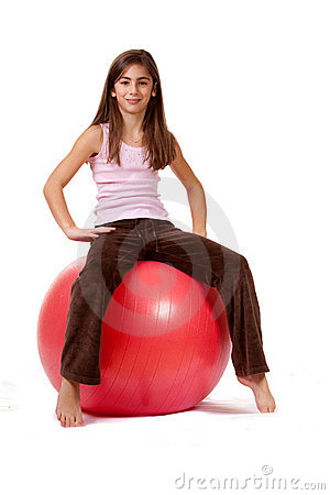 Young Girl On An Exercise Ball