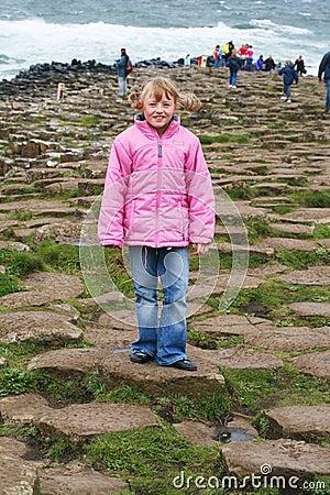 Young girl explores