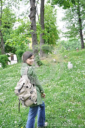 Young girl exploring the nature