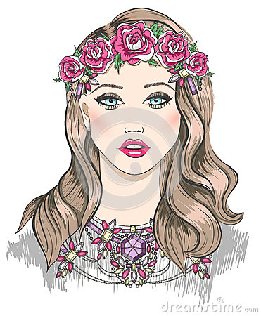 Young girl fashion illustration. Girl with flowers