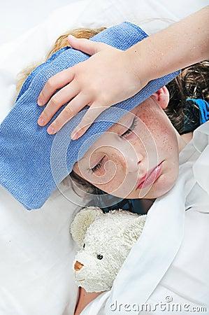 Young girl feeling sick