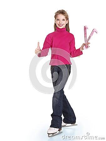 Young girl figure skating..