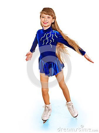 Young girl figure skating.