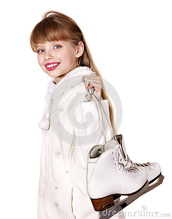 Young girl figure skating..