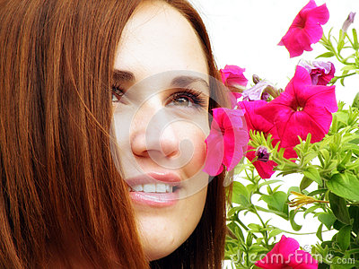 Young girl flower sensuality portrait outdoor