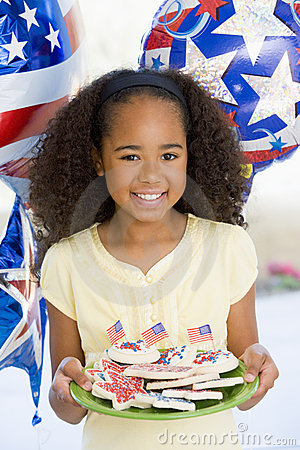 Young girl on fourth of July