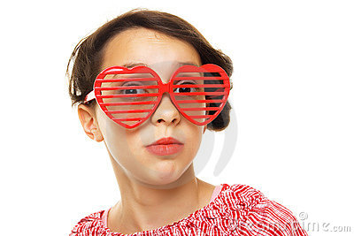 Young girl with funny sunglasses