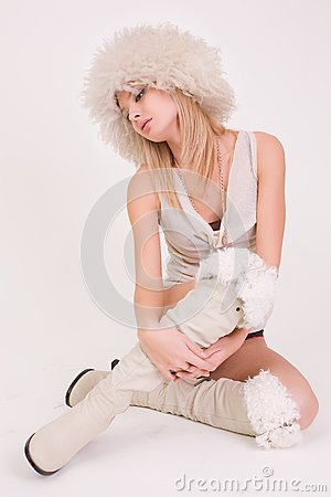 Young girl in furry hat