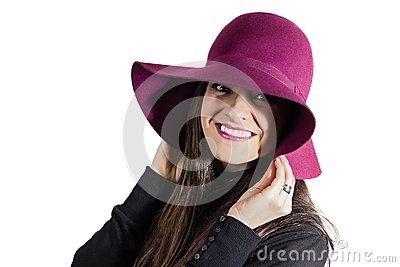 Young girl with garnet on white background