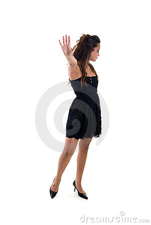 Young girl gesturing stop