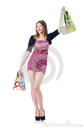 Young girl after good shopping