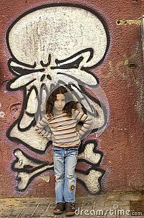 Young girl grafitti wall
